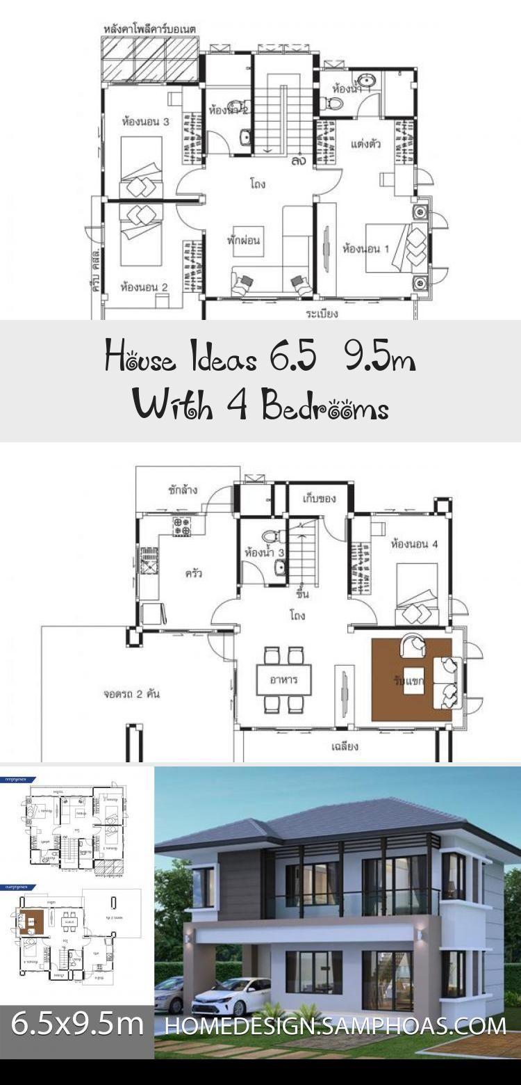 House Ideas 6 5 9 5m With 4 Bedrooms In 2020 Floor Plan 4 Bedroom House Modern Bedroom
