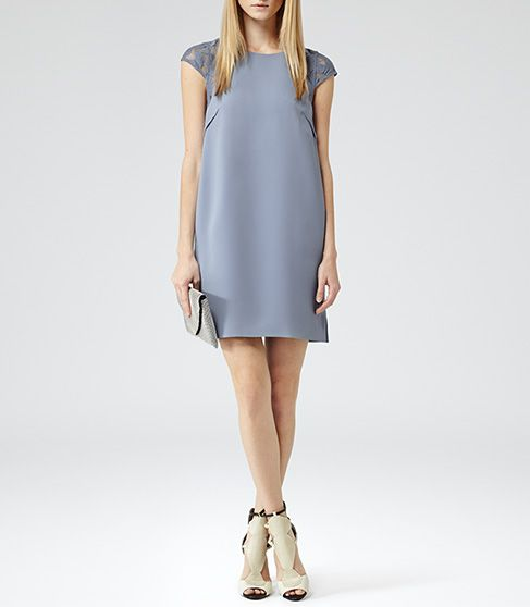 Womens Blueberry Lace Detail Shift Dress - Reiss Hattie Lace ...