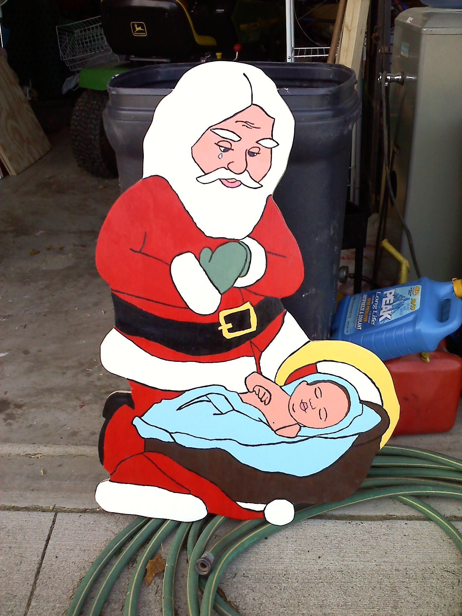 Santa Bowing Down To Baby Jesus Yard Art I Made Several Of These