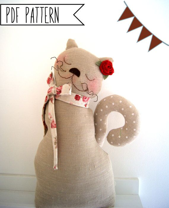 Pdf Sewing Pattern Cat, Sewing Pattern Softie Plush Toy, Cloth ...