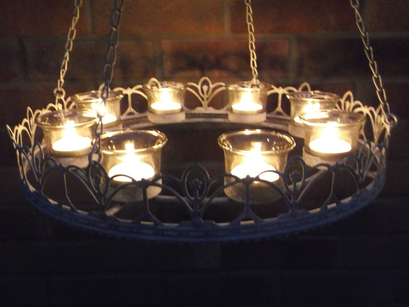 Vintage style french grey hanging tea light chandelier candle holder vintage style french grey hanging tea light chandelier candle holder metal new ebay aloadofball Choice Image