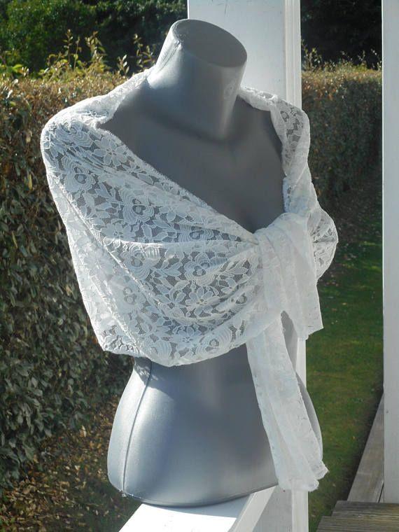 Etole écharpe foulard dentelle blanche femme agréable mariage ... a49c2293a2e