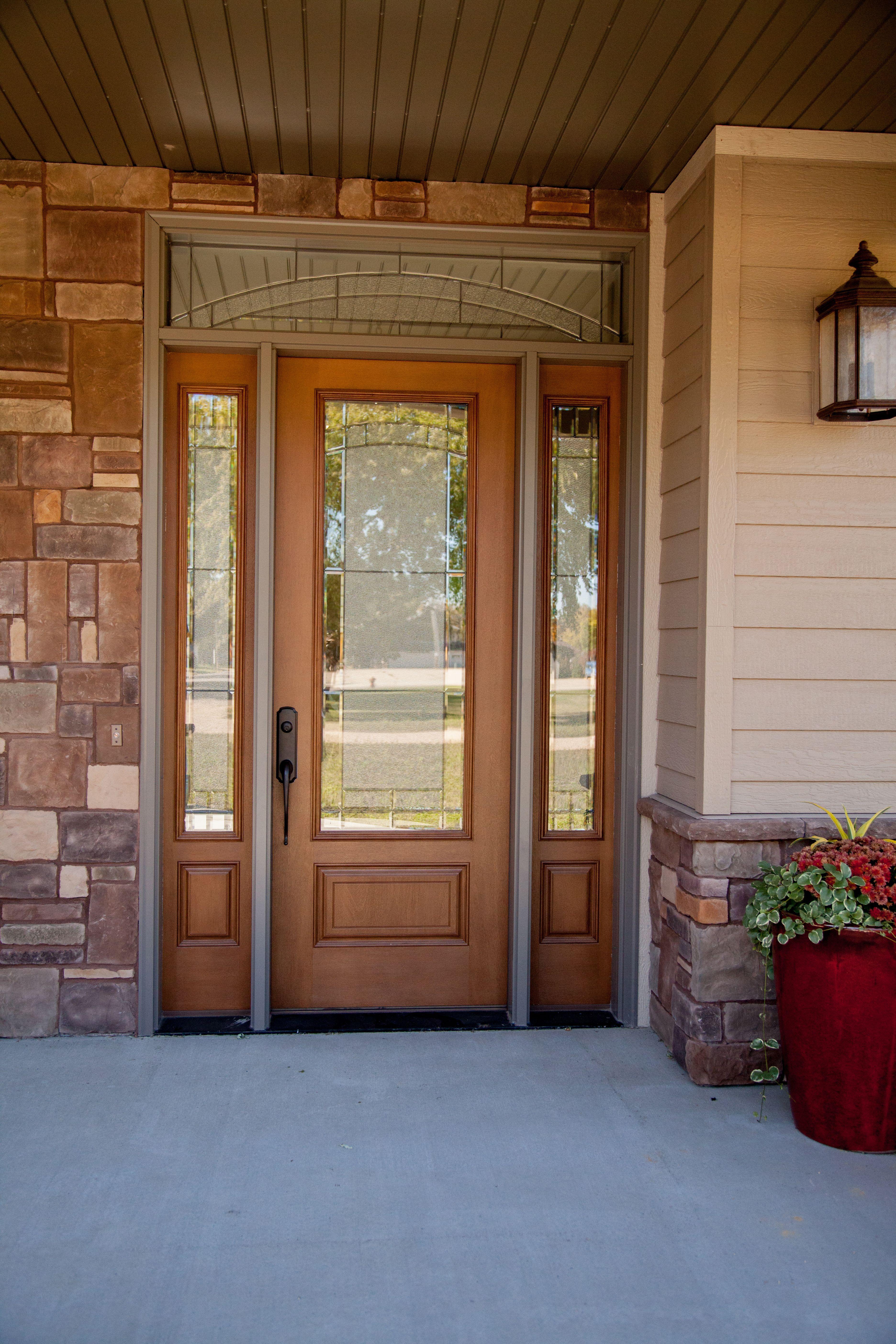 Exterior Doors Fir Fiberglass Three Quarter Light Element Glass With Transom And Sidelites Prefinishe Fiberglass Exterior Doors Exterior Doors House Front
