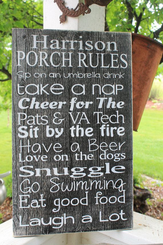 Porch sign Patio sign Deck sign Backyard rules outside by Wildoaks