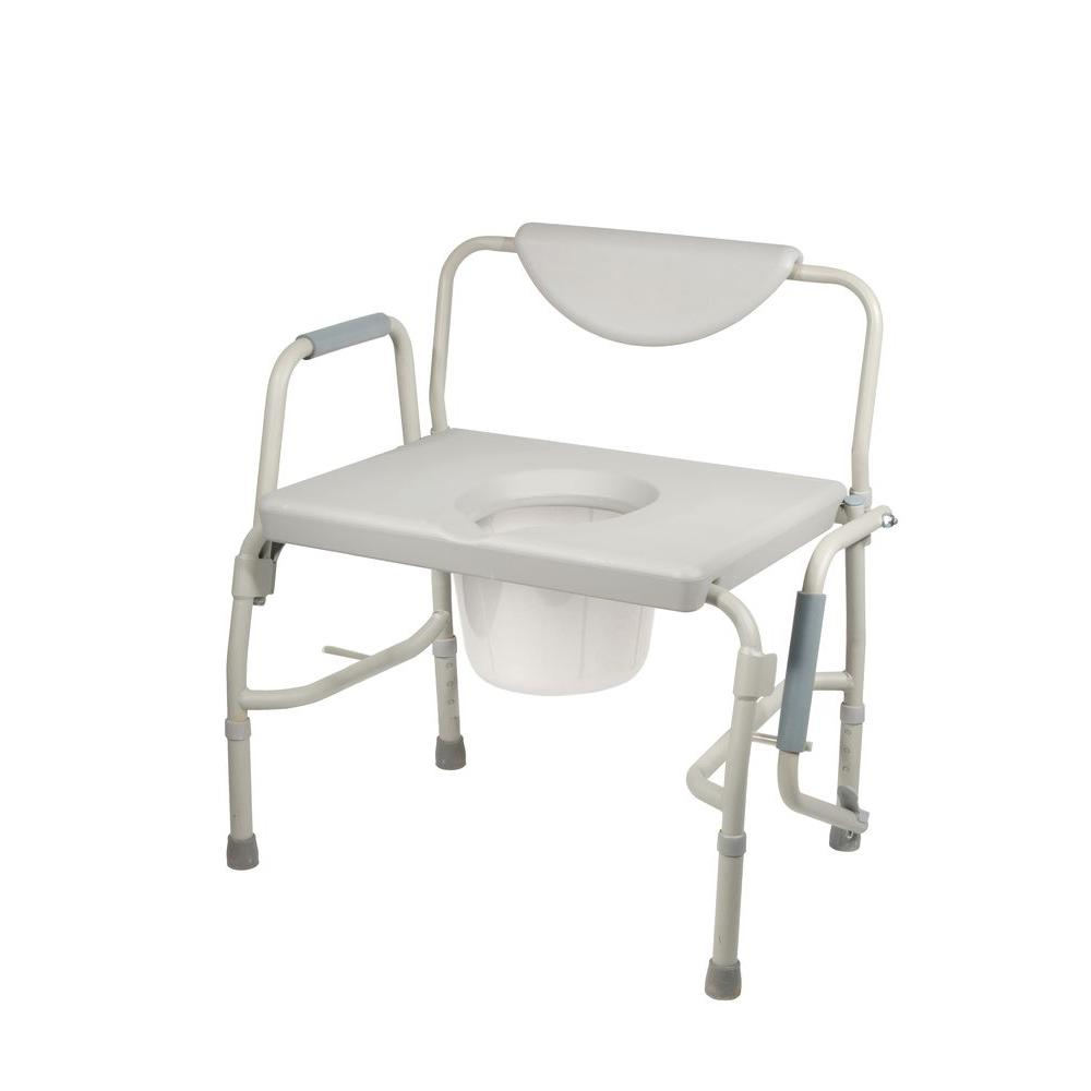 Drive Bariatric Drop Arm Bedside Commode Chair Grey Large