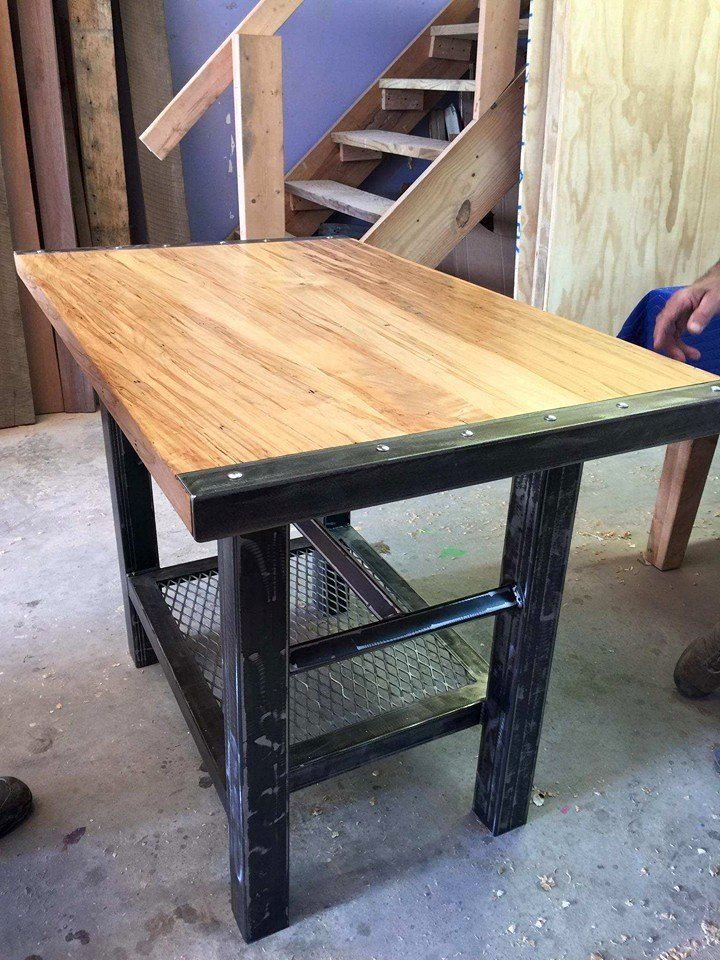 Custom Pub Table Made For A Customer With Ambrosia Maple Top And Expanded  Metal On The