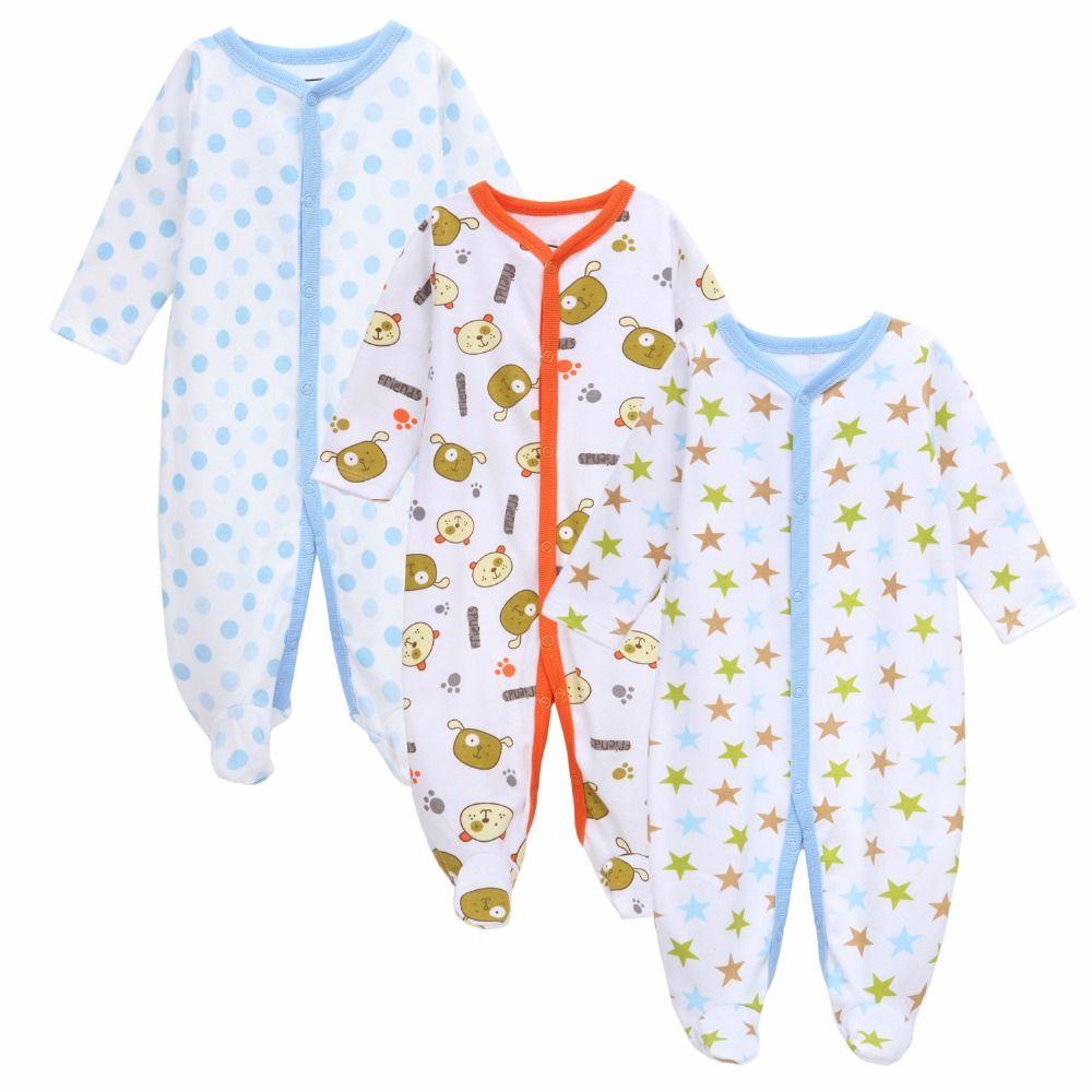 30e67070a 3 PCS BIG Brand Baby Romper Long Sleeves 100% Cotton Baby Pajamas ...