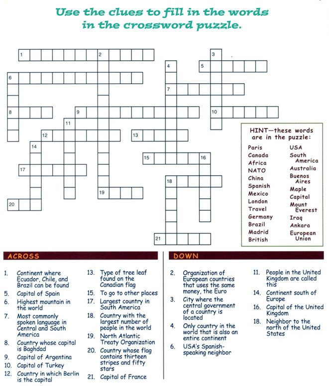 Cross Word Back Printer Friendly Version This Site Is Managed By The Fill In Puzzles Crossword Puzzle Challenging Puzzles