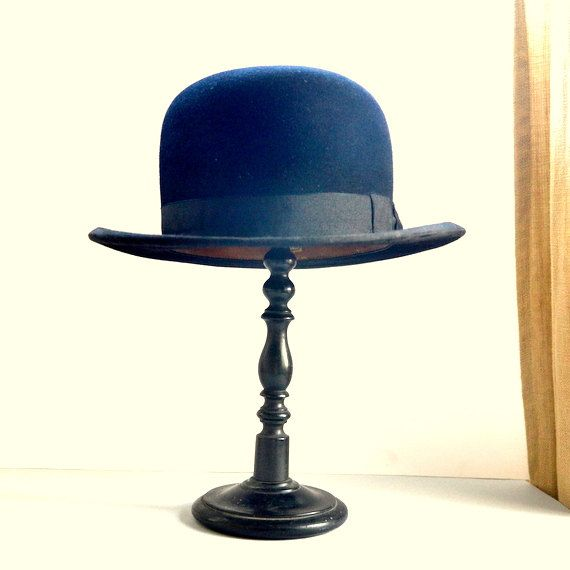 Bowler Hat Authentic French Vintage Wool Black Man Woman Etsy Vintage Wool Black Wool Hat Hats