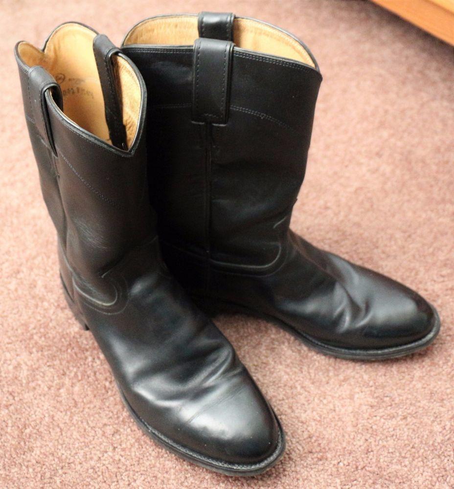d325138c1d8 Men's JUSTIN 3133 Black Smooth Leather Kipskin 10