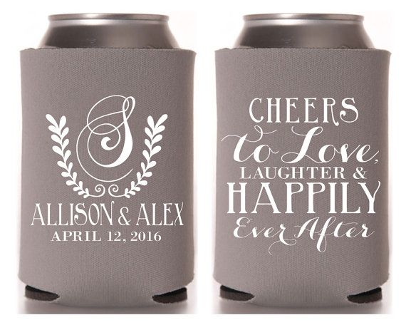 Love Laughter Hily Ever After Personalized Can Cooler Wedding Favors Custom Cheers Coolers 1072
