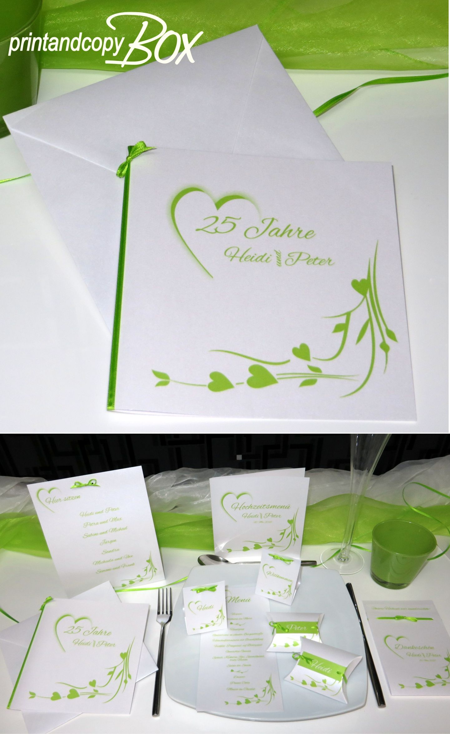 festliche einladung zur silberhochzeit in tollem grün