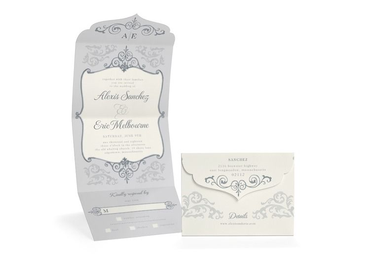 Vintage Appeal - Shimmer All-In-One Invitations in Storm or Flint | Lady Jae