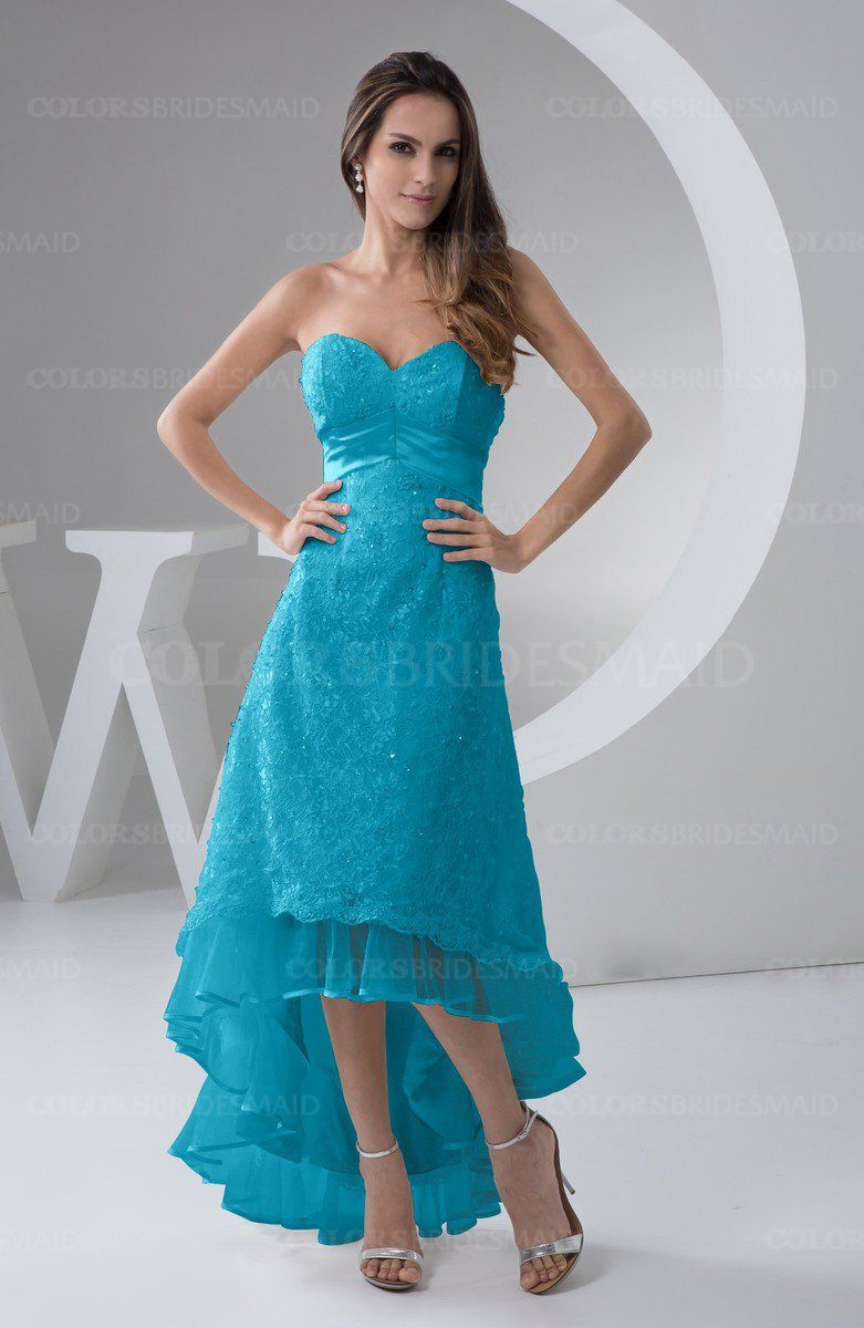 Teal simple aline zipper tea length paillette plus size bridesmaid