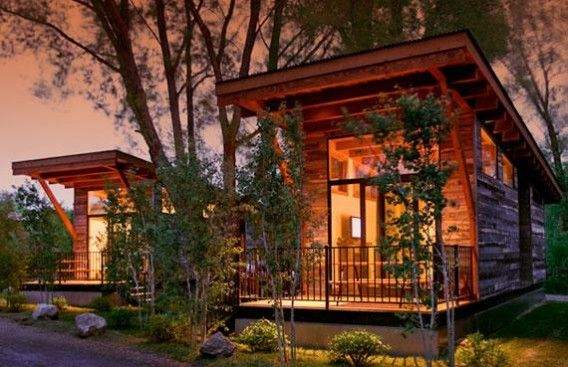 The Wedge Tiny Retreat by Wheelhaus.  Perfect weekend ski cabins being built near Jackson Hole,
