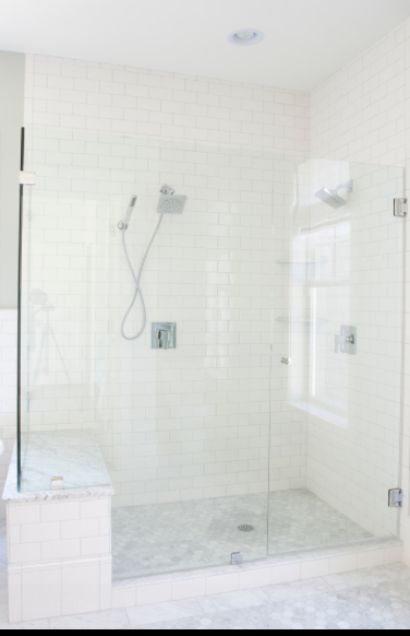 Master bath built in bench topped with marble white subway tiles on the walls masterbathshowers also