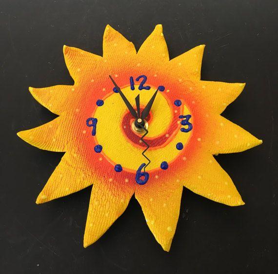 Here Comes The Sun Clock Whimsical Sunshine by PondScumCeramics ...