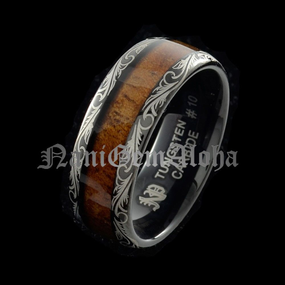 Koa Wood Hawaiian Wedding Band Ring Black Tungsten Scroll Design
