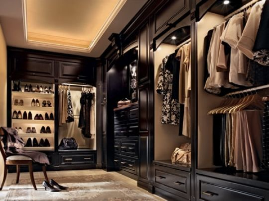 ceiling light and built ins give this closet a boutique feeling.
