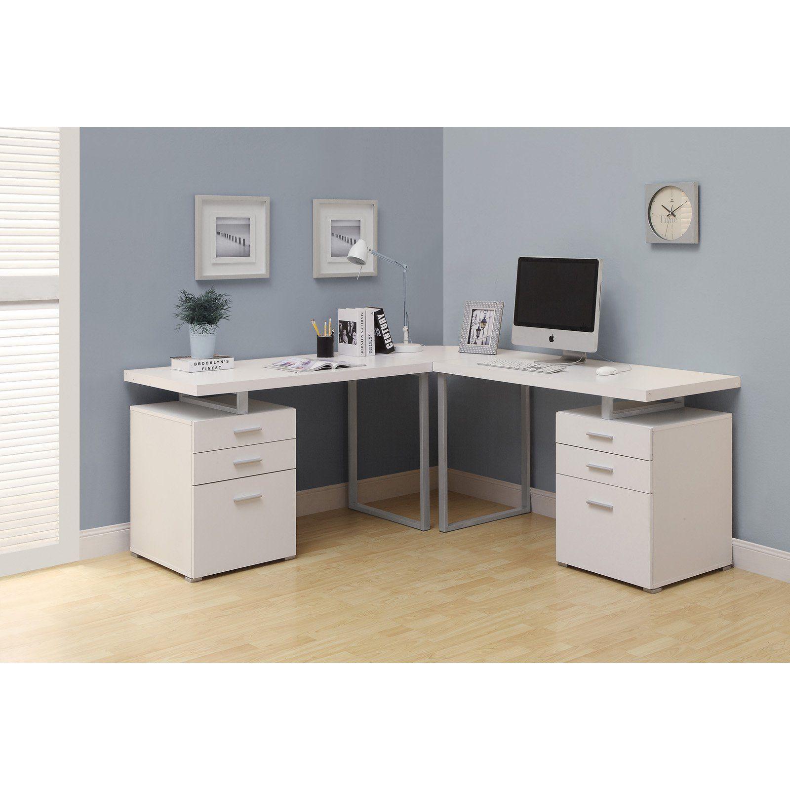 Monarch Specialties L Shaped Corner Desk Walmart Com White
