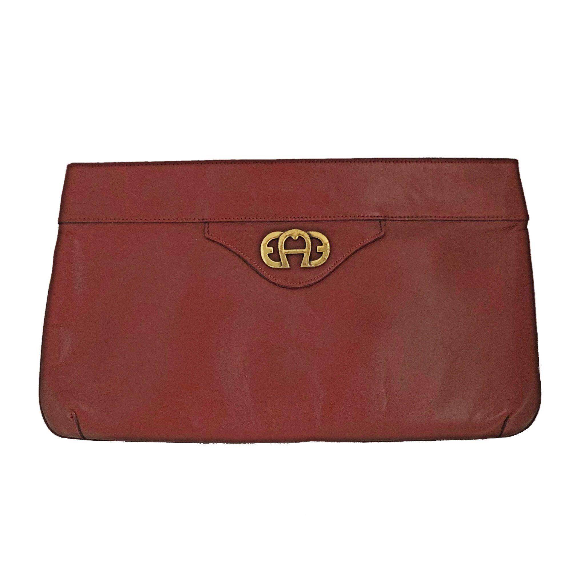 5a4c553eeb483 New to my #etsy shop: Vintage Etienne Aigner brown leather clutch handbag,  purse