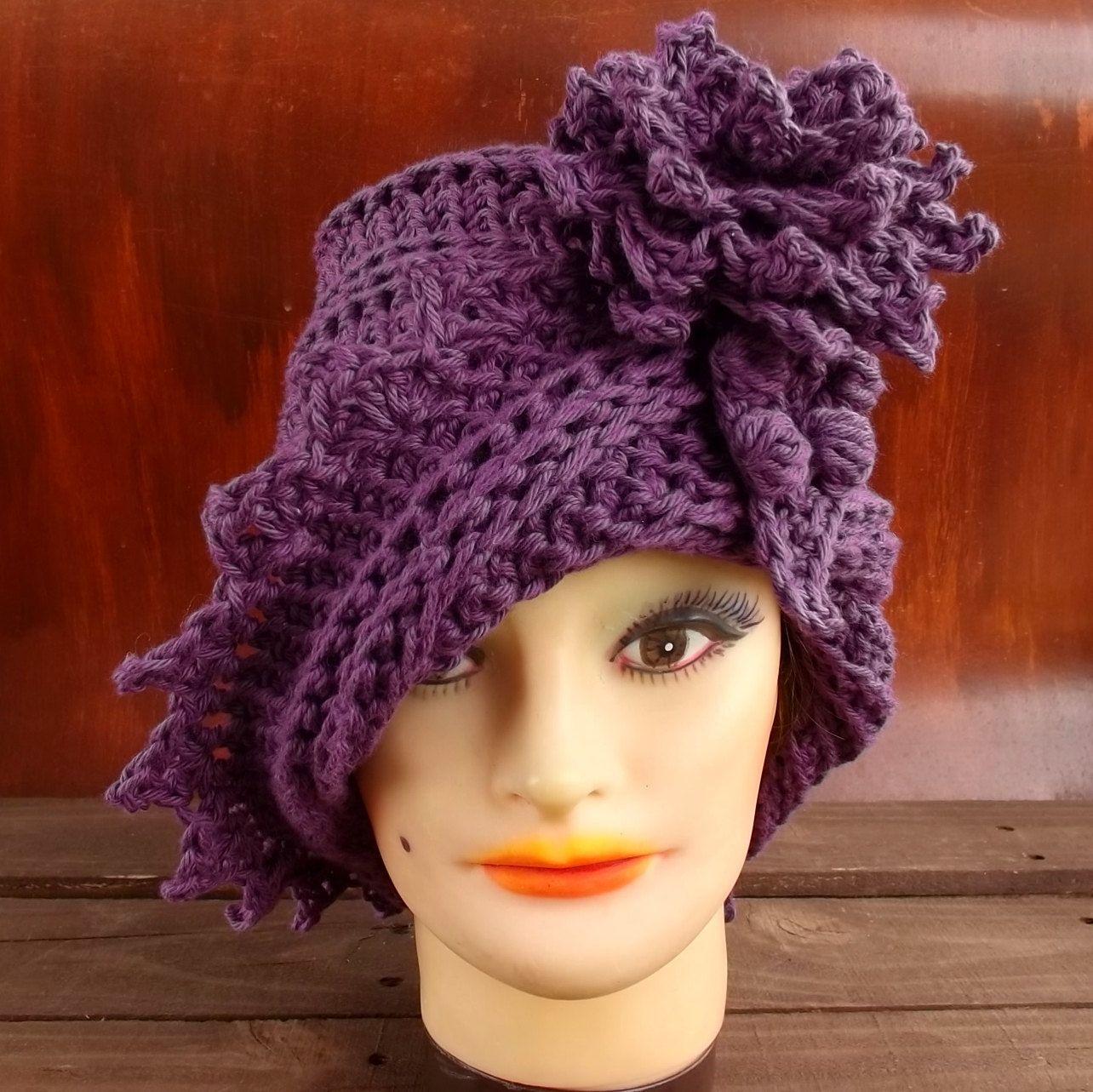Purple Crochet Hat Womens Hat Crochet Flower Crochet Cotton Hat ...