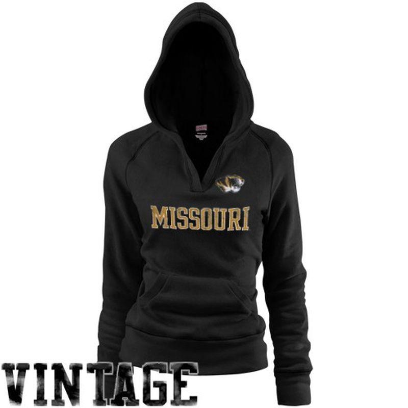 Missouri Tigers Women's Rugby Deep V-Neck Hoodie - Black