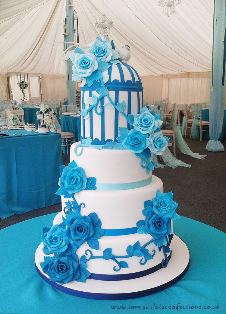 Blue Roses and Birdcage Wedding Cake