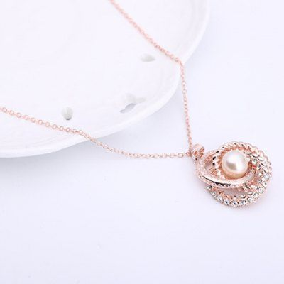 Charming Rhinestone Floral Shape Pendant Necklace and Earrings For Women #jewelry, #women, #men, #hats, #watches, #belts, #fashion