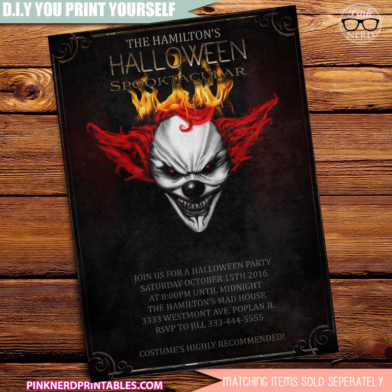Clown Halloween Party invitation Halloween Party | Halloween ...