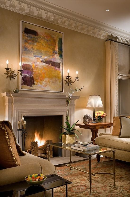 Interior Design Fireplace Living Room: Traditional Living Room With Modern Elements