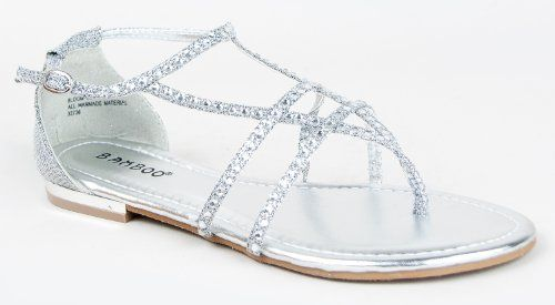 613e93695 Bamboo BLOOM-74 Rhinestone Crystal Gem Strappy T-Strap Flat Gladiator  Sandal Bamboo