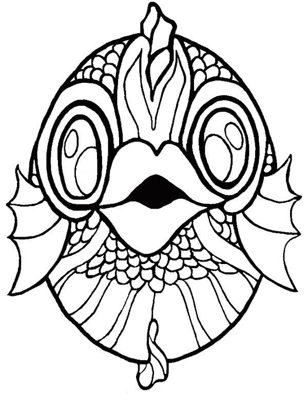 Mask Koi Fish Coloring Page