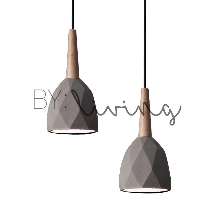 Modern Contemporary Minimal Wood Timber Diamond Concrete Pendant
