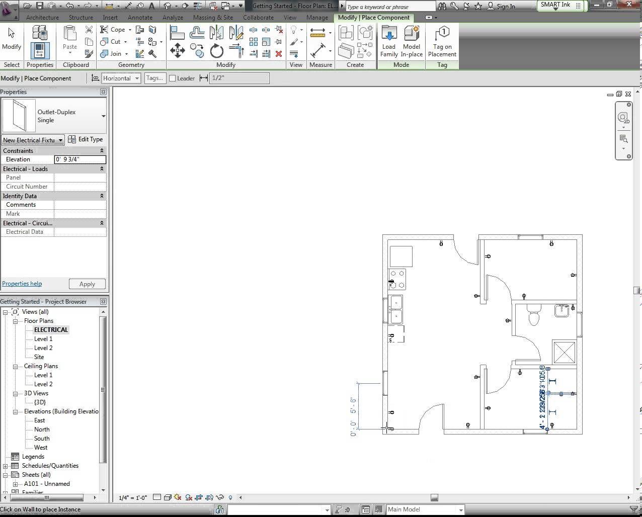 revit tutorial electrical plan part 1 [ 1276 x 1028 Pixel ]