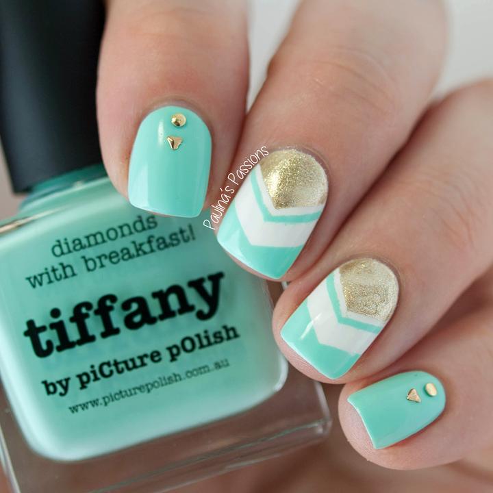 Tiffany Blue Gel Nail Polish: Mint Chevron Nails With Picture Polish Tiffany