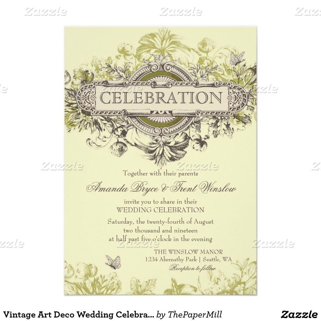 Vintage Art Deco Wedding Celebration 5x7 Paper Invitation Card ...