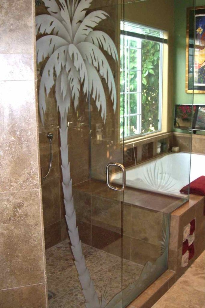 Etched Shower Doors glass shower door enclosure etched frosted palm tree - 2