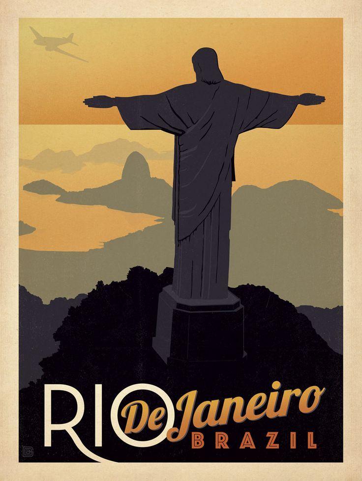Rio De Janeiro Travel Poster Rio De Janeiro Estampas De Cartaz Posteres De Viagem