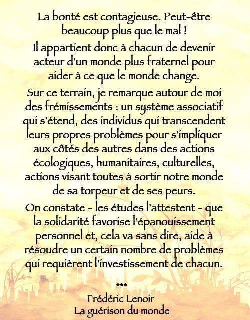 Frédéric Lenoir La Guérison Du Monde Citation Citation
