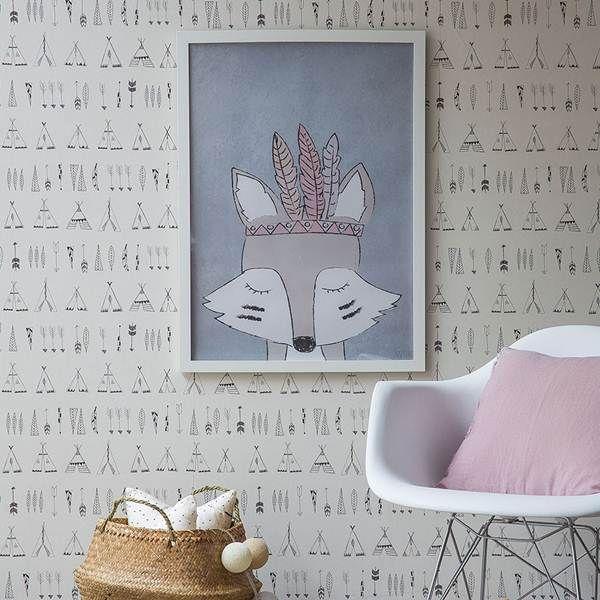 Ideas para decorar una habitaci n infantil con estilo n rdico papel pintado infantil papel - Papel pintado habitacion infantil nina ...