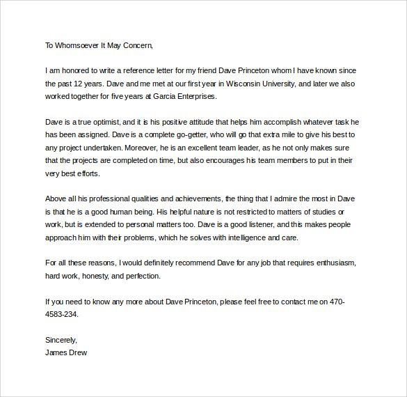 Personal Reference Letter For A Friend from i.pinimg.com