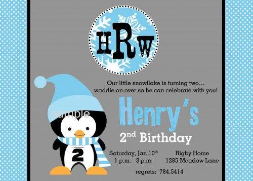 Winter Penguin Boy Birthday Party Printable Personalized Invitation   katiebellepaperie - Children's on ArtFire