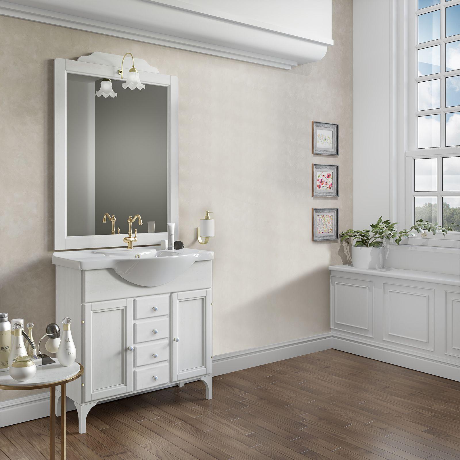 Mobile Bagno 85cm Bianco Decape Lavabo In Ceramica E Specchiera