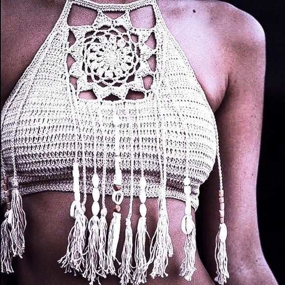 Tops - Crochet Dreamcatcher Bralette Crop Top | grochet | Pinterest