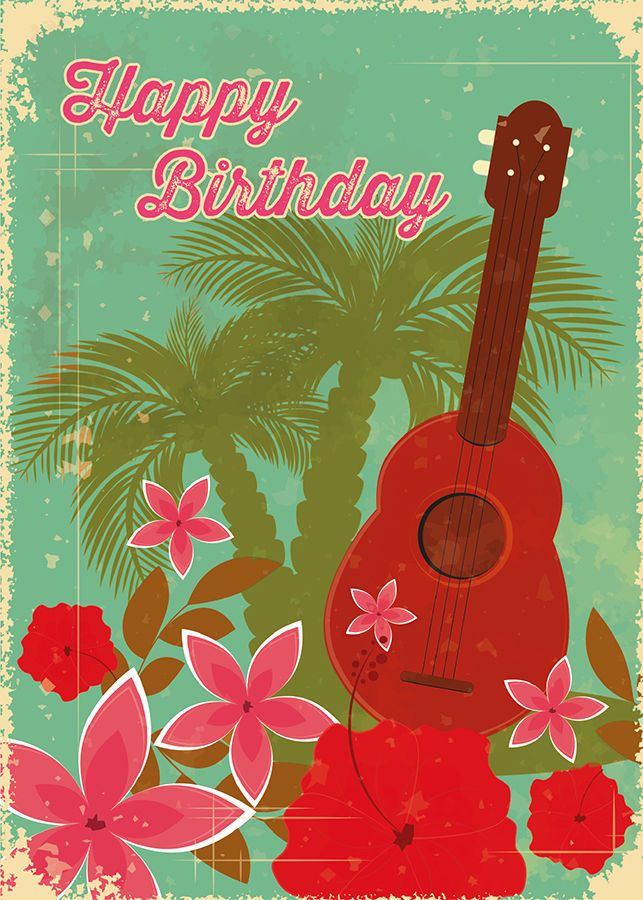 4 Greeting Cards Hawaiian Happy Birthday Ukulele