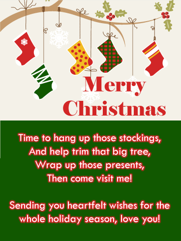 Holiday Stockings Merry Christmas Card For Grandson Birthday Greeting Cards By Davia Merry Christmas Card Birthday Greeting Cards Holiday Stockings