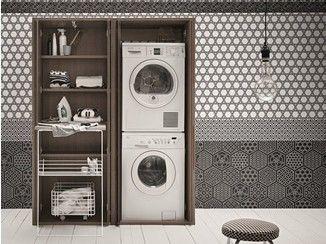 Mobile lavanderia a colonna in olmo per lavatrice ACQUA E SAPONE ...