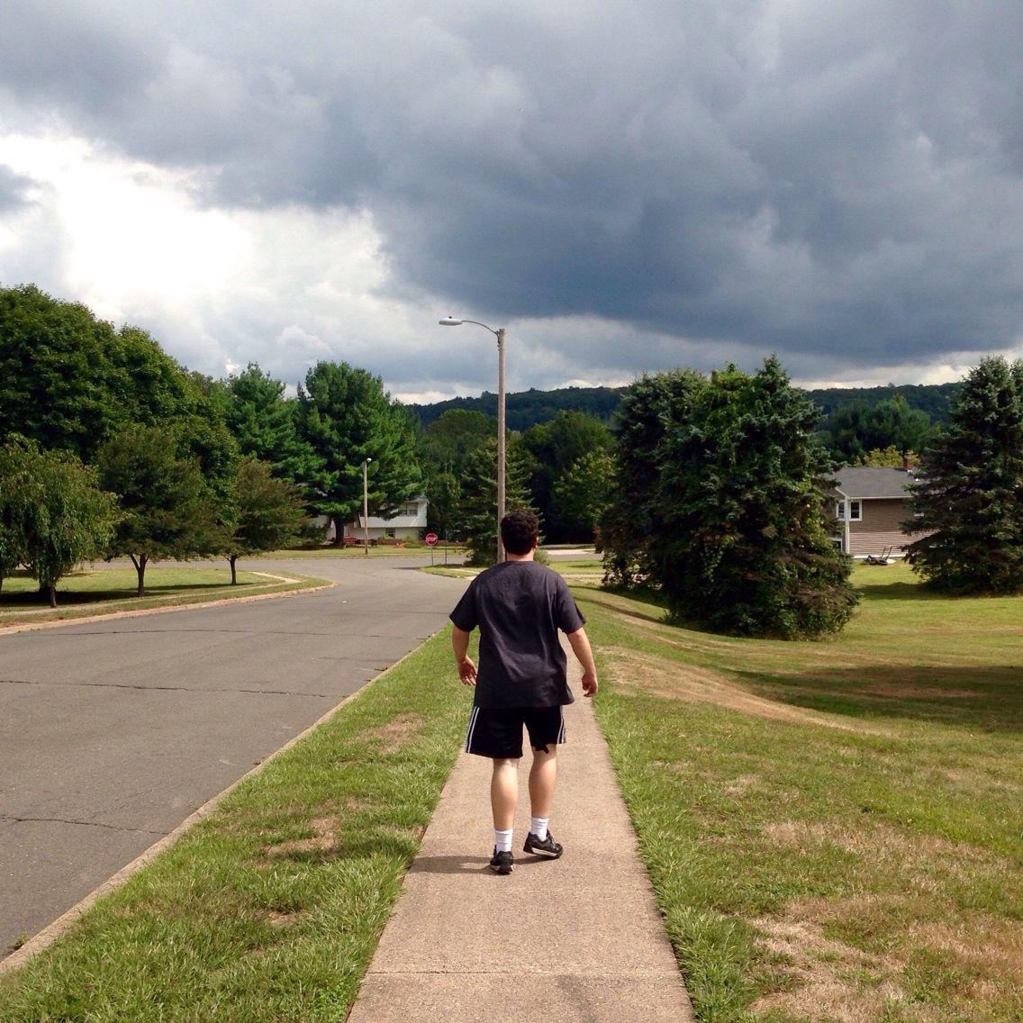 Even though we were in the blazing sun - he couldn't get past those dark clouds - we didn't get very far....  I walked 1.5 @CharityMiles for @MichaelJFoxOrg. Thx2 @Humana for sponsoring me!