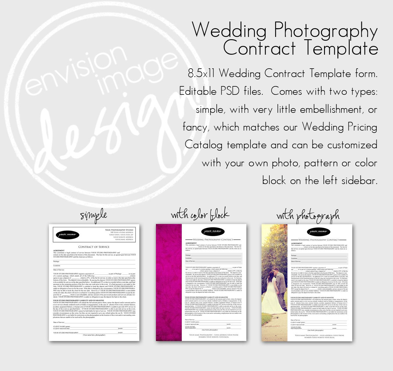 Non Compete Agreement Photography Contract Template  Wedding
